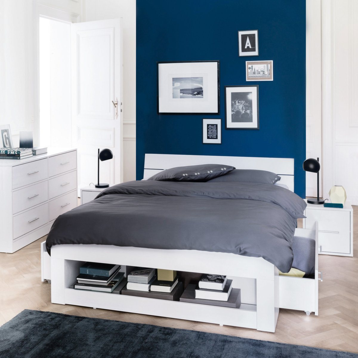 chambre turquoise et gris. Black Bedroom Furniture Sets. Home Design Ideas