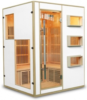 Sauna infrarouge design 3/4 personnes, couleur blanc