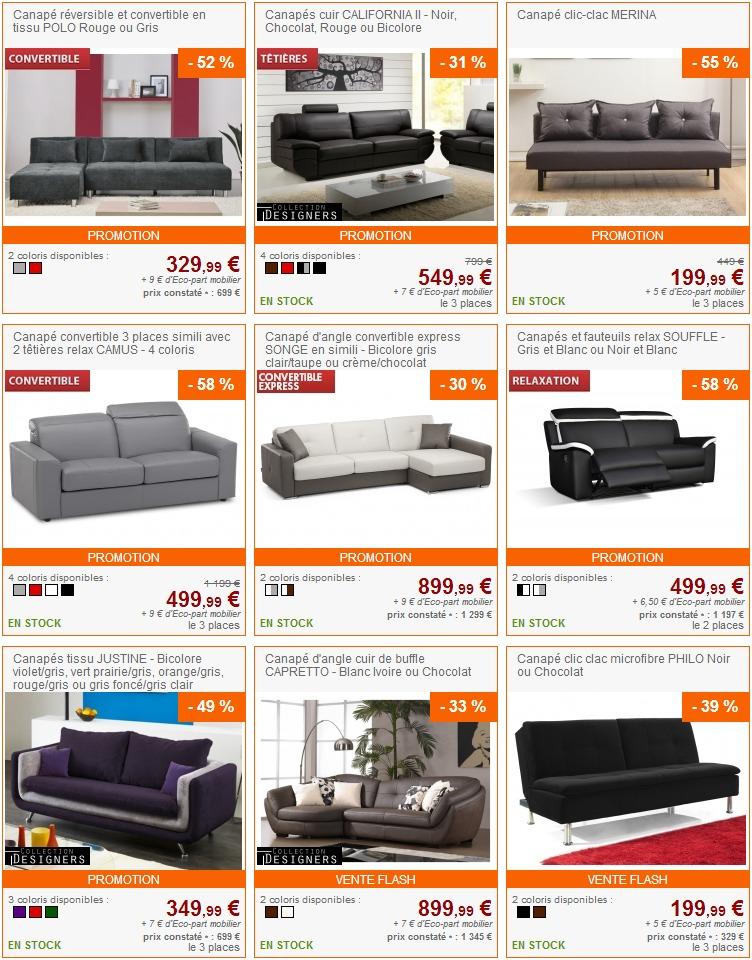 canap pas cher mobilier canape deco. Black Bedroom Furniture Sets. Home Design Ideas