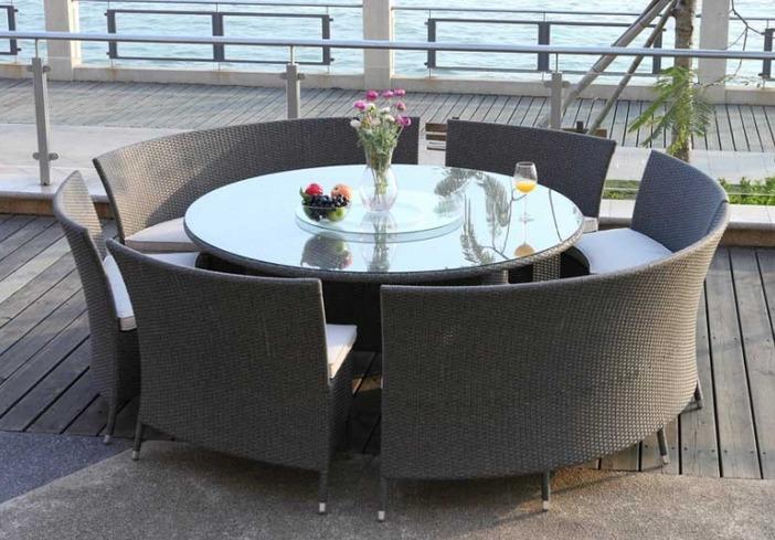 Salle manger r sine tress e mobilier canape deco - Table de jardin resine blanche ...